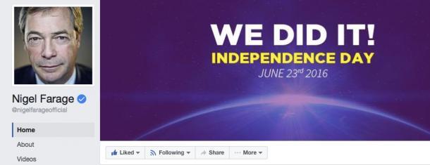 写真・図版 : 英国独立党ファラージ氏のフェイスブックサイト