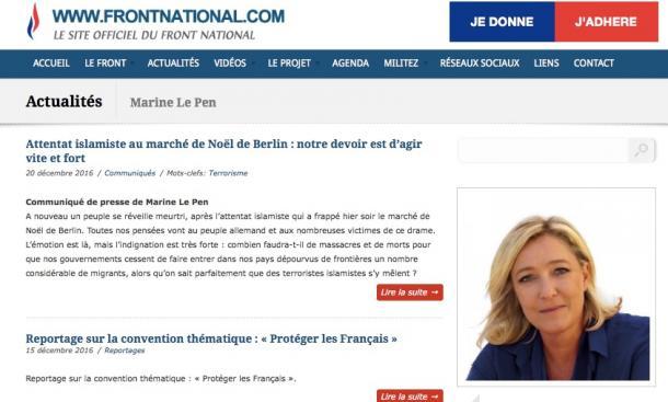 写真・図版 : 仏「国民戦線」のルペン党首(国民戦線のウェブサイトより)