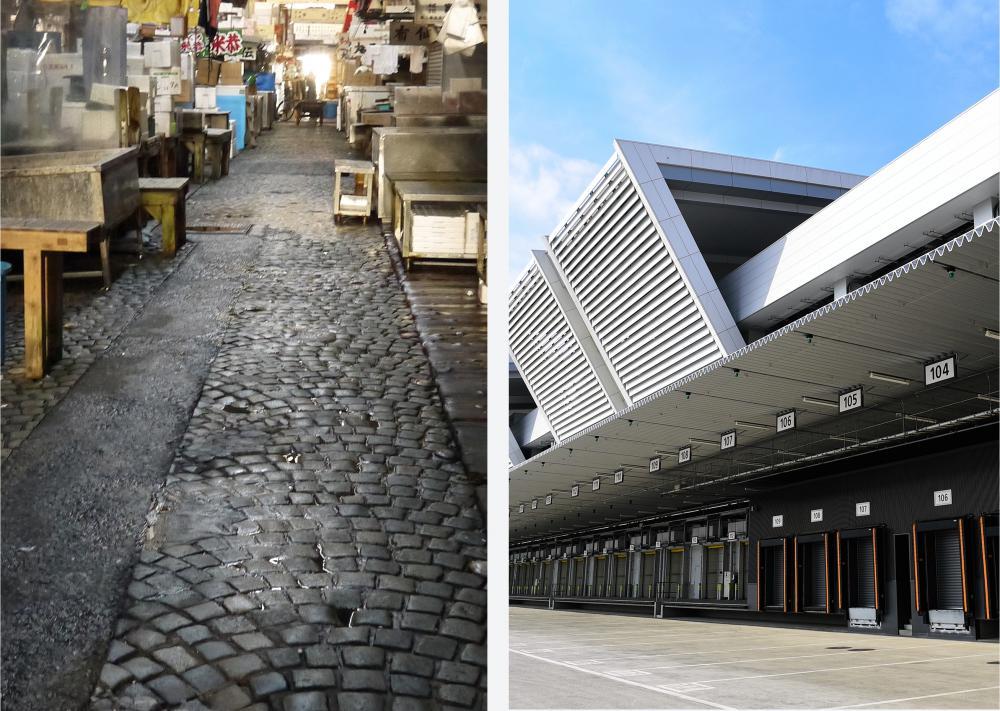 写真・図版 : 築地市場(左)と豊洲市場
