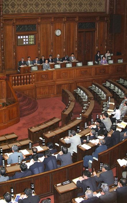 写真・図版 : 国立大学法人法案は2003年7月9日、参院本会議で賛成多数で可決され、成立した=阿古慎一郎撮影