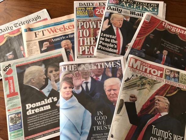 トランプ米大統領の就任式を伝える英各紙の1面は多様な論調を出している
