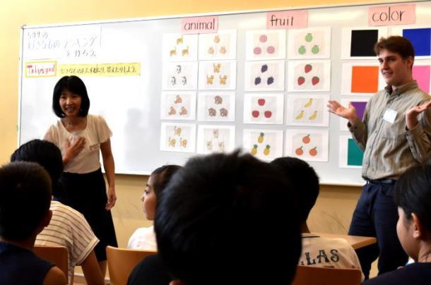 小学生に英語を使って模擬授業をする女性教諭(左)=国際教養大