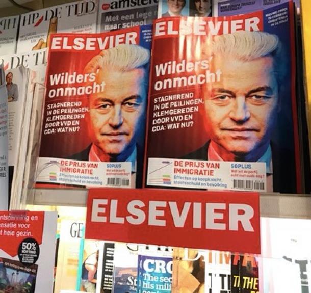アムステルダム内の書店にはウィルダース氏を特集した雑誌が並べられていた
