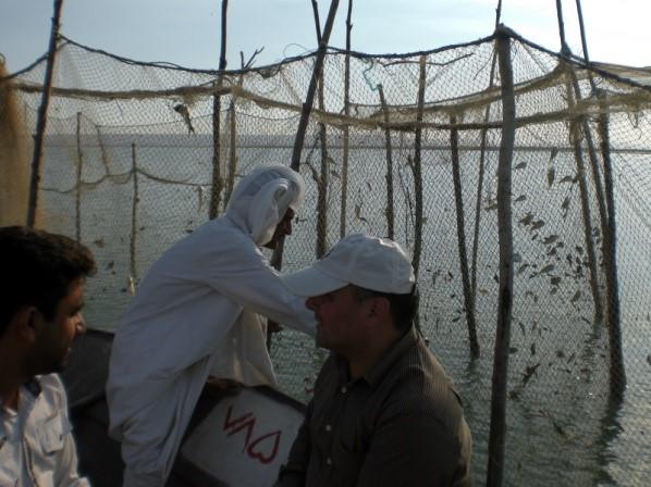 写真・図版 : エコパークの一つ、イラン国ゲシュム島ハラ地域の定置網漁業。科学的助言には現場の実情を理解が不可欠だ=2012年著者撮影