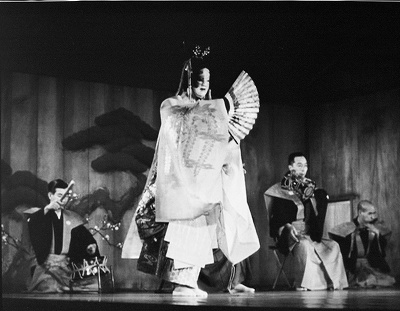 (6-1)舞台中央に出て「杜若」の精霊を舞うシテ。舞台左下の白洲から見上げる目線で撮られている