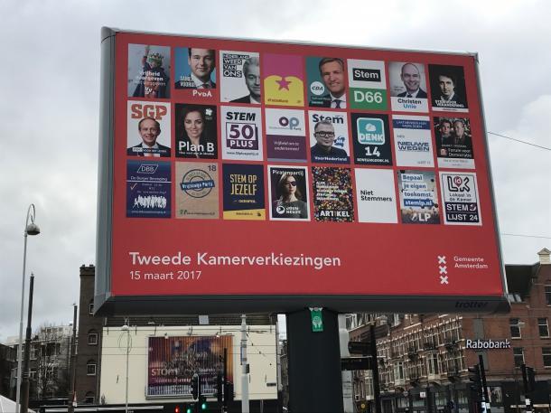 アムステルダム市内に掲げられていた、下院選挙用ポスター