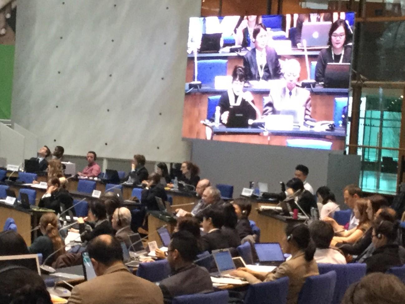 写真・図版 : IPBES第5回総会で発言する日本政府代表団の環境省担当者と武内和彦氏(スクリーン前列左から)=2017年3月8日、筆者撮影