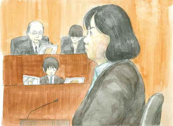 判決理由を聞く木嶋佳苗被告=2012年4月13日、さいたま地裁、絵と構成・仲澤瑞希