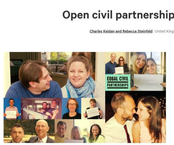 署名サイト「チェンジ・org」の画面。左上がチャールズさんとレベッカさん