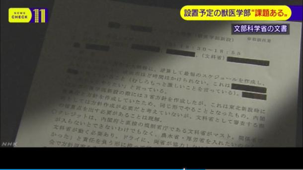 写真・図版 : NHKのウェブサイトで「文科省の審議会 新設獣医学部に『課題あり』と報告」というタイトルで5月16日21時32分に公開された動画の1場面のスクリーンショット