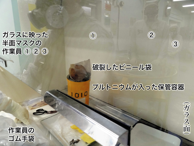 写真・図版 : 被曝事故が起きた作業台=日本原子力研究開発機構の提供写真に編集部で注記