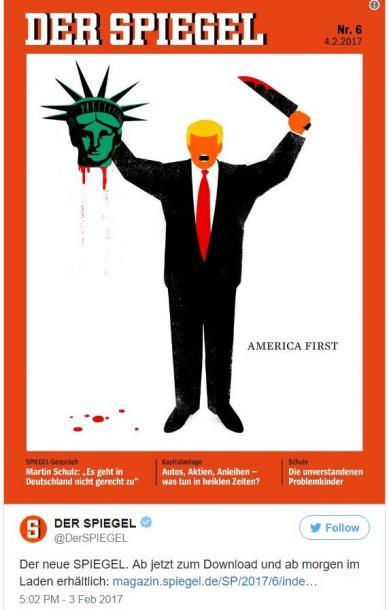 シュピーゲル誌のトランプ米大統領をモチーフにした表紙(2月6日号、ツイッターより)