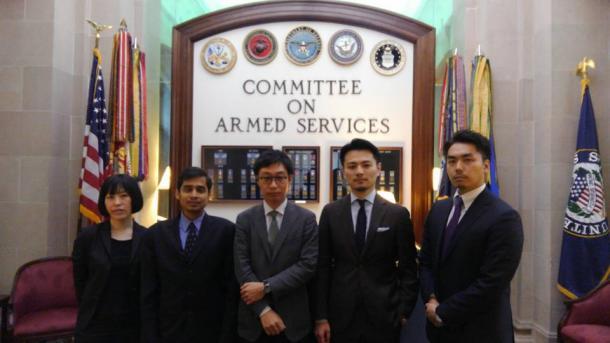 アメリカ合衆国上院軍事委員会(ワシントンDC、向かって右端が筆者)