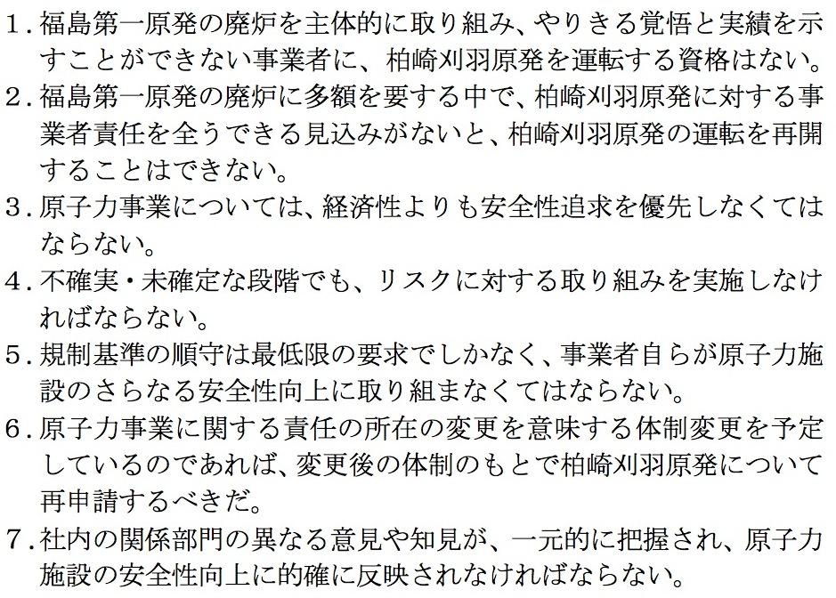 写真・図版 : 規制委員会が東京電力に求めた7項目