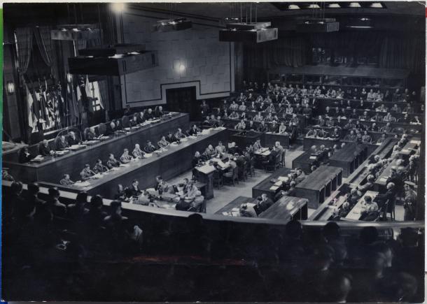 東京裁判の法廷=1948年