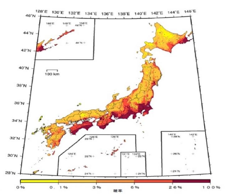 写真・図版 : 全国地震動予測地図2014年版。30年以内に震度6弱異常の揺れに見舞われる確率を色分けしている(地震調査研究推進本部の資料から)