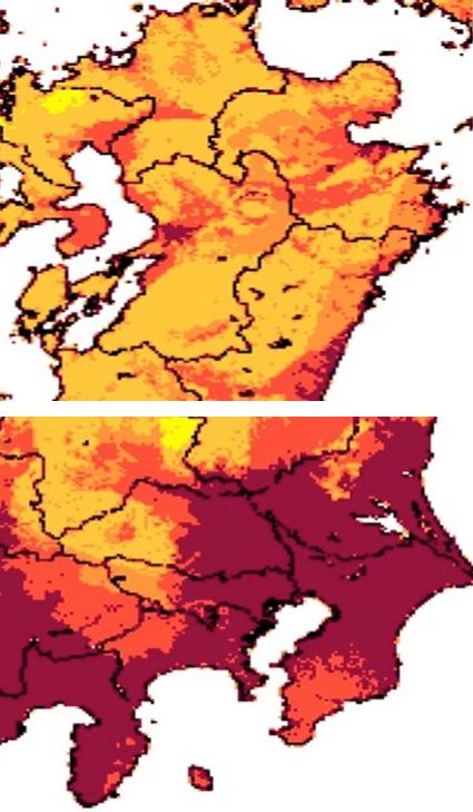 写真・図版 : 地震動予測地図(2014年版)の九州と関東の拡大図
