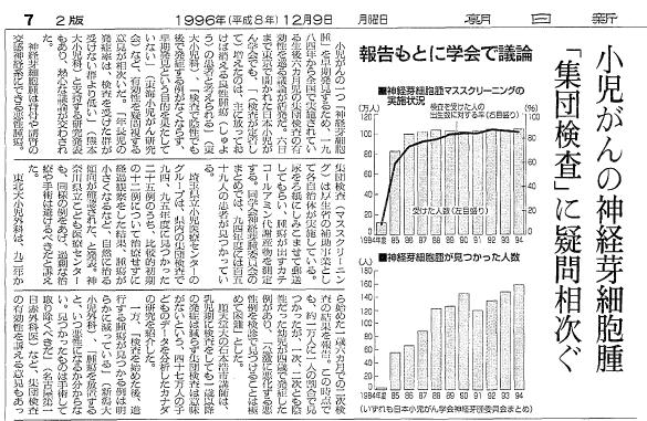 写真・図版 : 神経芽腫のマススクリーニングの疑問点を取り上げた記事=1996年12月9日付朝日新聞