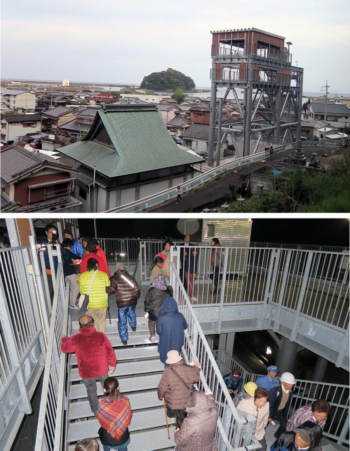 写真・図版 : 高知県黒潮町の津波避難タワーと、夜間の避難訓練