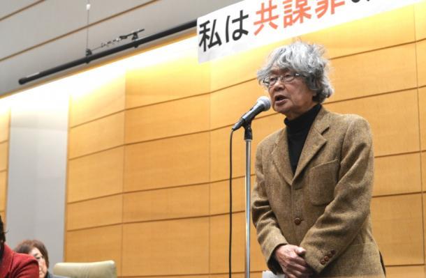 名: 集会で発言する鎌田慧さん(右)=東京都千代田区の衆院第一議員会館201702