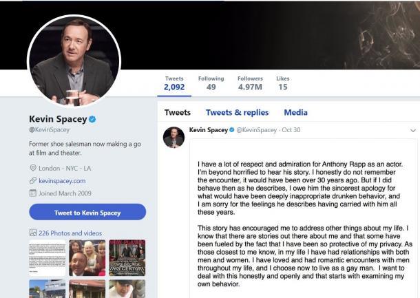 写真・図版 : セクハラ疑惑の報道後に声明文を発表してから、ケビン・スペイシーのツイッターアカウントは更新されていない