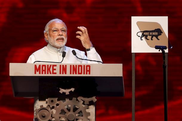 昨年2月、製造業を強化する「メイク・イン・インディア」について力説するモディ首相=ロイター
