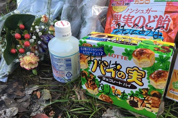 現場アパート近くに供えられた菓子のパッケージには「また会おうな」「おれは仲直りしたかった」と被害者に向けたと思われるメッセージが書かれていた=2017年11月10日、神奈川県座間市緑ケ丘6丁目