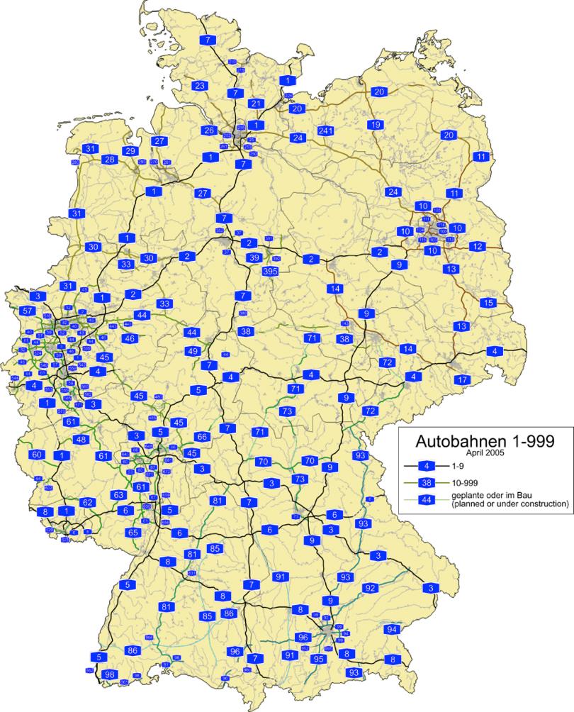 写真・図版 : 「制限速度無し」のドイツのアウトバーン網