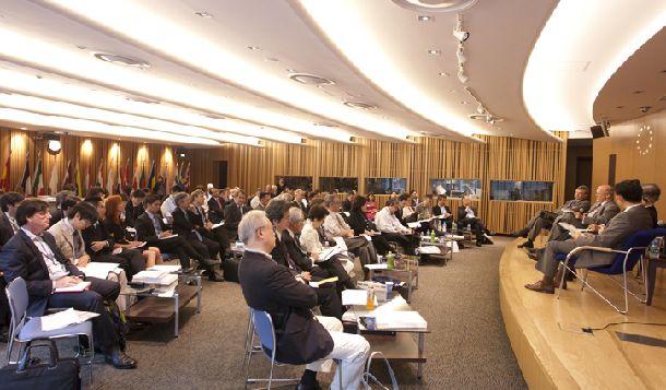 日本の政策・外交・文化について議論する東京財団・GMF主催の「日米欧東京フォーラム」。国際会議で知見を広げるのもシンクタンクの大切な仕事だ。(東京財団提供)