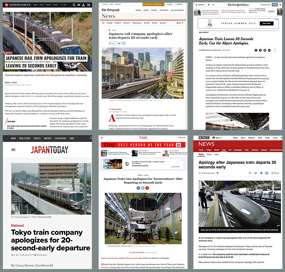 写真・図版 : 海外メディアが一斉に驚いた(上段左から右へ「インデペンデント」「デイリー・テレグラフ」「ニューヨーク・タイムズ」、下段左から右へ「ジャパントゥデイ」「タイム」「BBC」の各サイト)