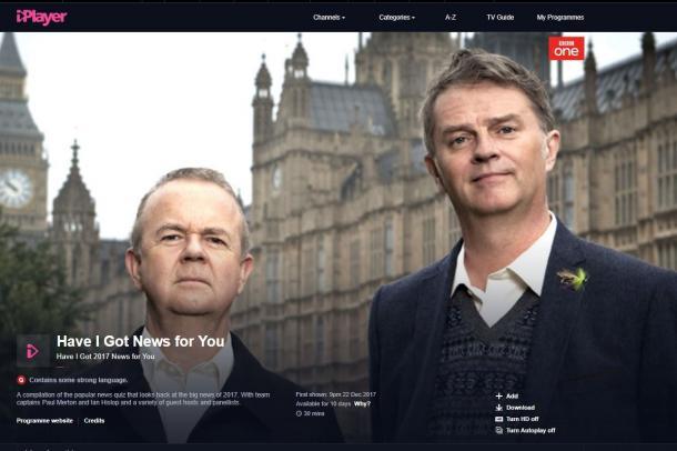 写真・図版 : BBCの政治クイズショー「ハブ・アイ・ゴット・ニューズ・フォー・ユー」(ウェブサイトより)