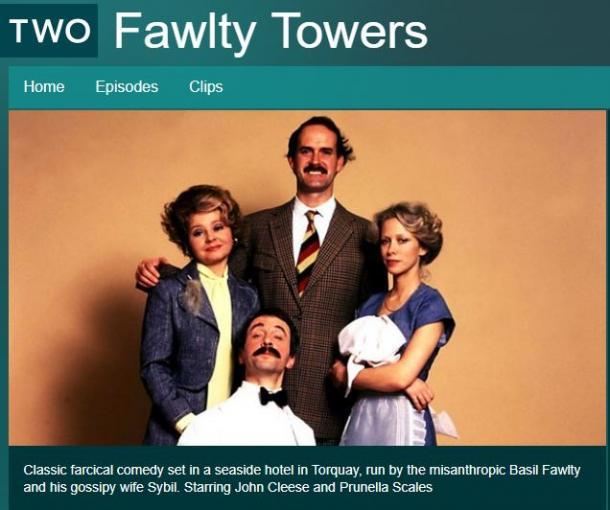 写真・図版 : BBCのコメディ番組「フォールティ・タワーズ」の出演キャスト(BBCのウェブサイトより)