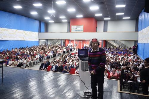 写真・図版 : ペドロ・エンリケ・ウレーニャ大学での講演=2017年11月29日
