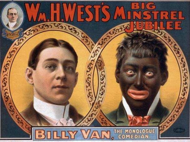 1900年当時のミンストレル・ショーのポスター 白人役者(左)と彼が演じたクーン(右)。浜ちゃんの黒塗り顔とよく似ている。  https://commons.wikimedia.org/wiki/File:Minstrel_PosterBillyVanWare_edit.jpg