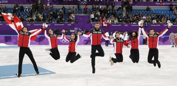 フィギュア団体で優勝して喜ぶカナダの選手たち