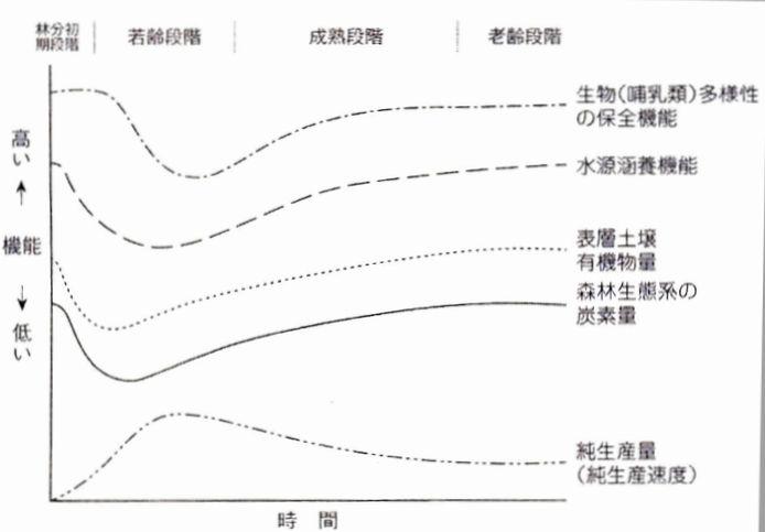 写真・図版 : 森林の構造の発達段階に応じた機能の変化(出典:藤森隆郎著『林業がつくる日本の森林』、Fujimori.2001を一部修正)