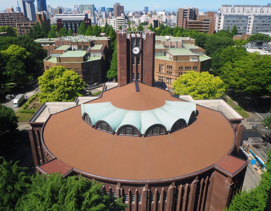 写真・図版 : 背後から見た東京大学の安田講堂