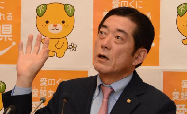 写真・図版 : 「『首相案件』文書」をめぐって、「県の職員を全面的に信頼している」と語った中村時広・愛媛県知事