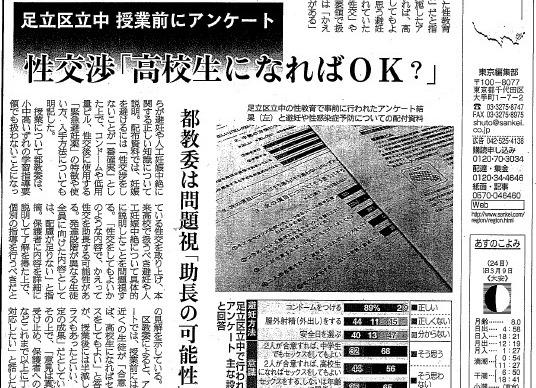 写真・図版 : 「性交渉『高校生になればOK?』」などと報じた産経新聞の記事=2018年4月23日付