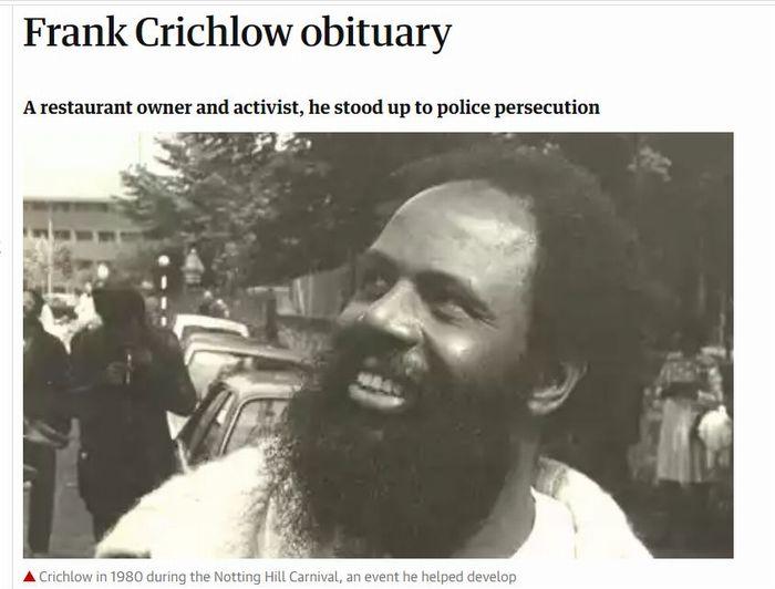 写真・図版 : ガーディアン紙に掲載された、クリッチロウの訃報記事(2010年9月26日、ウェブサイトから)