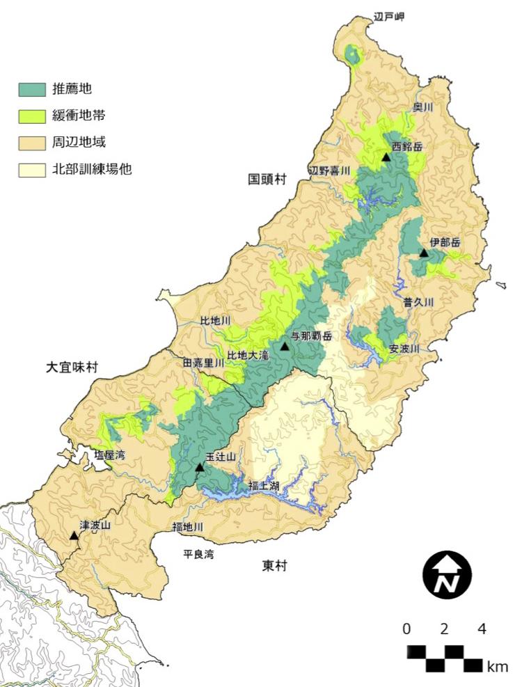 沖縄島北部(やんばる)世界自然遺産推薦地及び緩衝地帯=政府の推薦書から