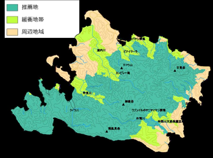 写真・図版 : 奄美・沖縄世界自然遺産推薦書のうち西表島(左)と沖縄島北部(右)の推薦地,緩衝地域,周辺地域=環境省2017推薦書 より