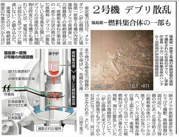 2018年1月20日付の朝日新聞記事。図で、丸く描かれた原子炉格納容器に作業員が棒を入れている所が「X6ペネ」にあたる