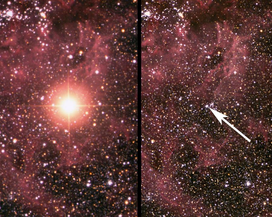 写真・図版 : 大マゼラン星雲で1987年に発生した超新星爆発。右が爆発前=アングロオーストラリア天文台、Daved Malin氏撮影