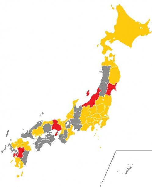 写真・図版 : 震度6~7を経験した都道府県。赤は震度7、黄は震度6(6弱と6強を含む)。グレーは未経験の県=気象庁震度データベースをもとに、筆者がCraftMAPの白地図を使って作成