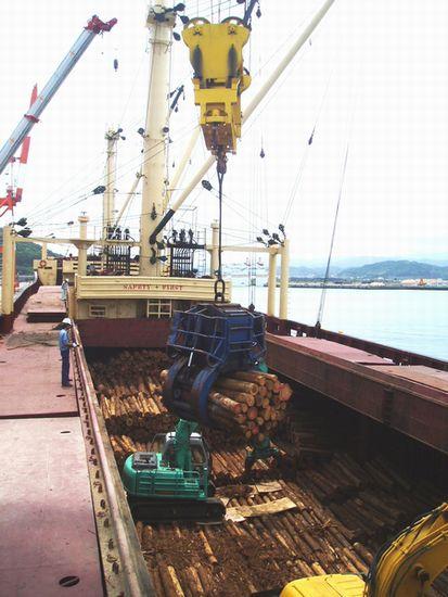写真・図版 : 輸出用木材を船に積み込む=宮崎県・日向港