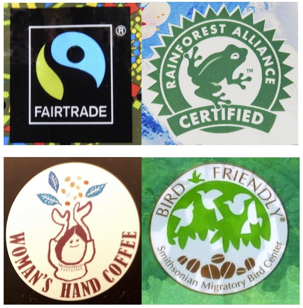写真・図版 : コーヒーの販売店で見かけた認証マークの例。左上から時計回りに、フェアトレード、熱帯林保全、野鳥の保護、女性の社会進出に、それぞれ貢献することを目指している