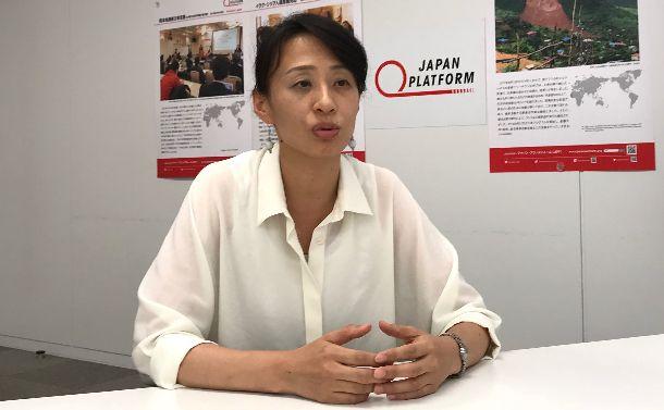 災害支援について語るJPF緊急対応部の柴田裕子部長