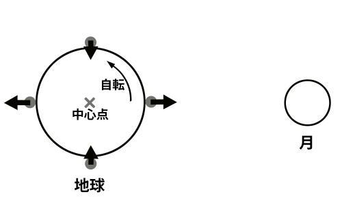 写真・図版 : 地球は中心点で受けた重力に従って全体が動くので、地表の石には各点での「重力の余り」が働く