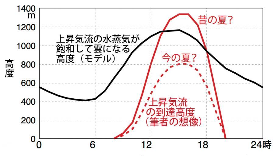 写真・図版 : 図3:最低気温27度、最高気温33度の場合の上昇気流の動き